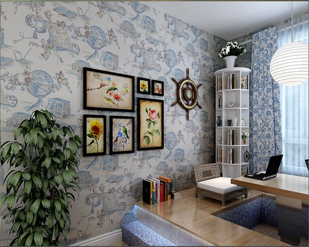beibehang American Retro Style Flower Wallpaper Nostalgic Bedroom Living Room Study Background papel de parede 3d Wall paper