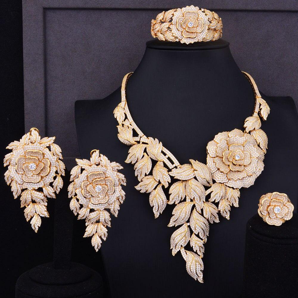GODKI Super Luxury Boom Rose Flower Cluster Women Wedding Cubic Zirconia Statement Necklace Earring Bangle Ring