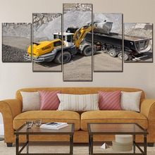 Canvas HD Prints Poster Living Room Decorative Framework 5 Piece Vehicles L580 Wheel Loader Painting Wall Art Modular Pictures