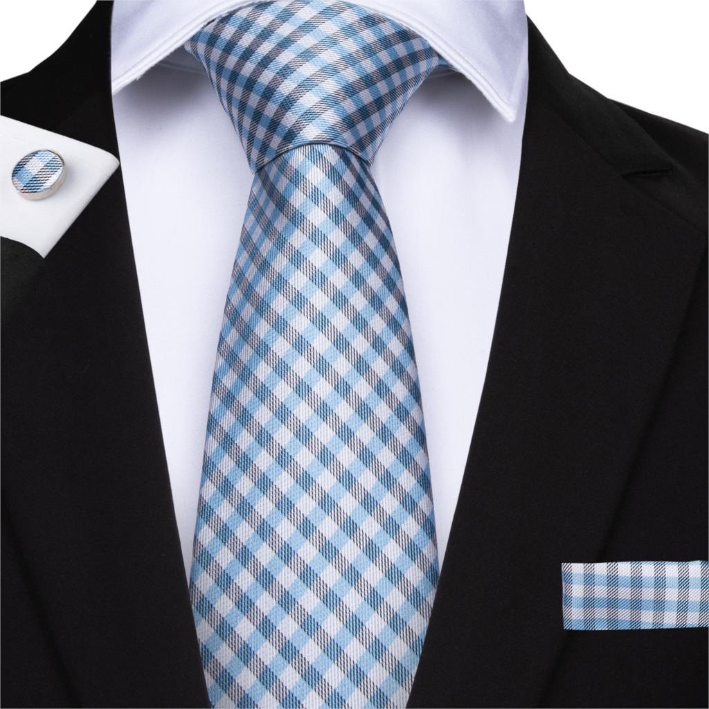 DiBanGu 2019 New Blue White Men's Tie Plaid Ties Hanky Cufflinks Tie 150cm Long Necktie Business Wedding Party Tie Set MJ-7127