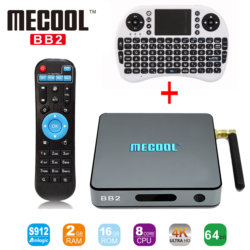 MECOOL BB2 Android TV Box Amlogic S912 Octa Core UHD 4K 2K 2G/16G Android 6.0 TV Box WiFi BT4.0 2.4GHz 5.8GHz WiFi+I8 Keyboard телевизор philips 49pus6501 60 uhd smarttv android tv серебристый
