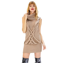 2018 Winter Dresses Women Knitted Sleeveless Turtleneck Dress Khaki Warm Knitwear Casual Office High Neck Sweater Dress
