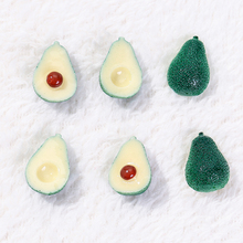 20pcs 24mm*15mm Resin Avocado  Fruit Vegetable Charms for Jewelry Accessories Green BFF
