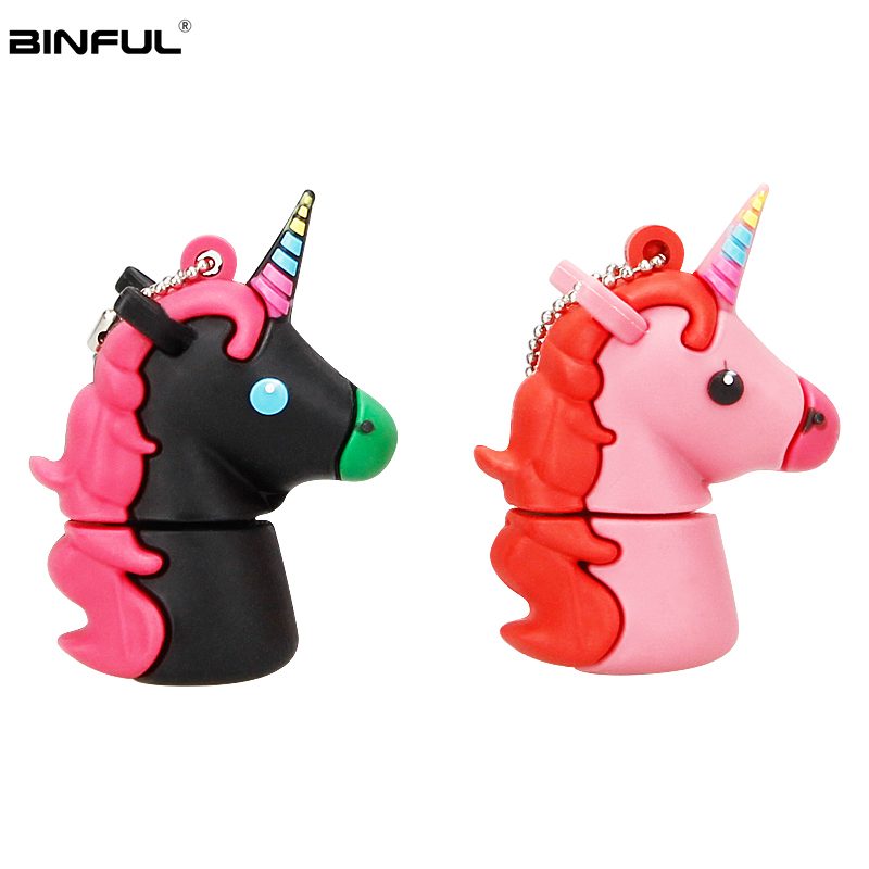 Image 3 - Silicone Cartoon Unicorn Usb Flash Drive 128GB 64GB 32GB Pen Drive Usb 2.0 16GB 8GB 4GB Flash Memory Portable Thumbdrives U Disk-in USB Flash Drives from Computer & Office
