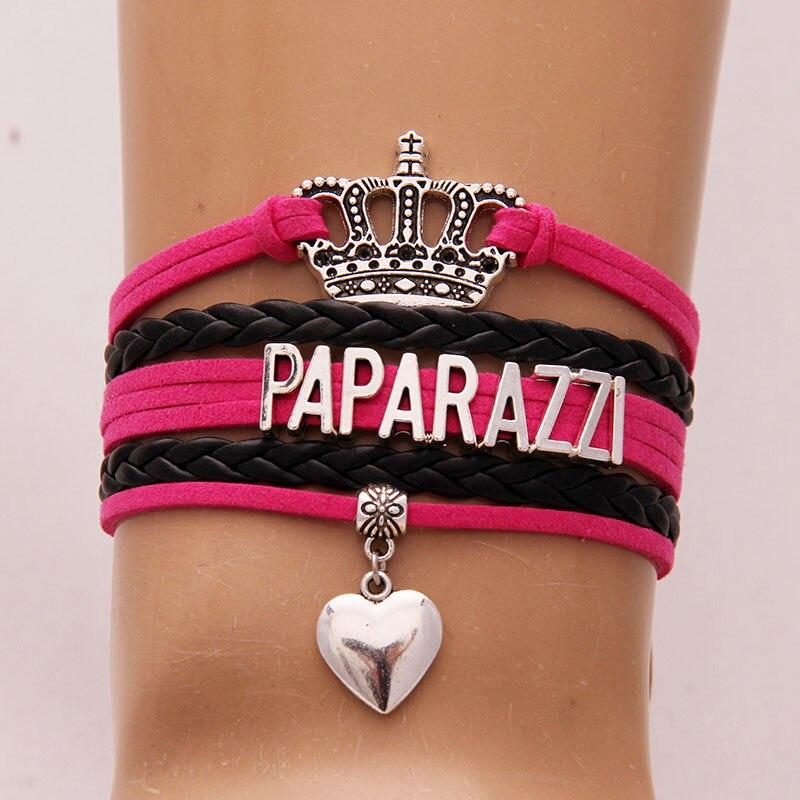 NCRHGL Infinity love PAPARAZZI bracelets bangles heart charm crown braided leather bracelet jewelry for woman man Drop Shipping