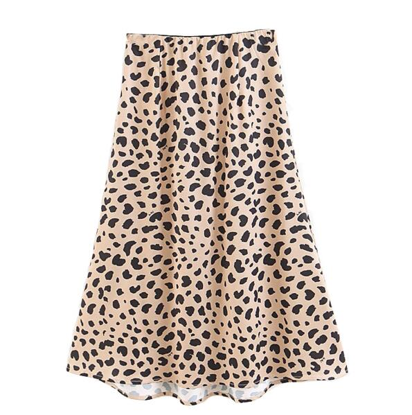 2019 Autumn Women Sexy Leopard Midi Skirt Elastic Waist Long Skirt Blogger Favorite High Street Chic Skirts