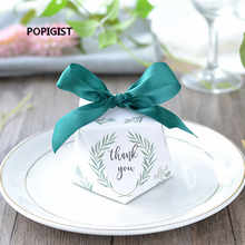 New Diamond shape Green leaves forest style Candy Box Wedding Favors And Gifts Party Supplies thank you Gift Box 100pcs