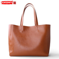 2018 new Women handbags Genuine leather shoulder bag fashion female simple first layer cowhide large capacity commuter tote bag