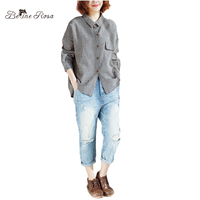 BelineRosa 2018 Women Blouse Spring Summer Season Long Sleeve Turn Down Collar Plaid Tops Plus Size