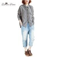 BelineRosa 2018 Women Blouse Spring Summer Season Long Sleeve Turn Down Collar Plaid Tops Plus Size