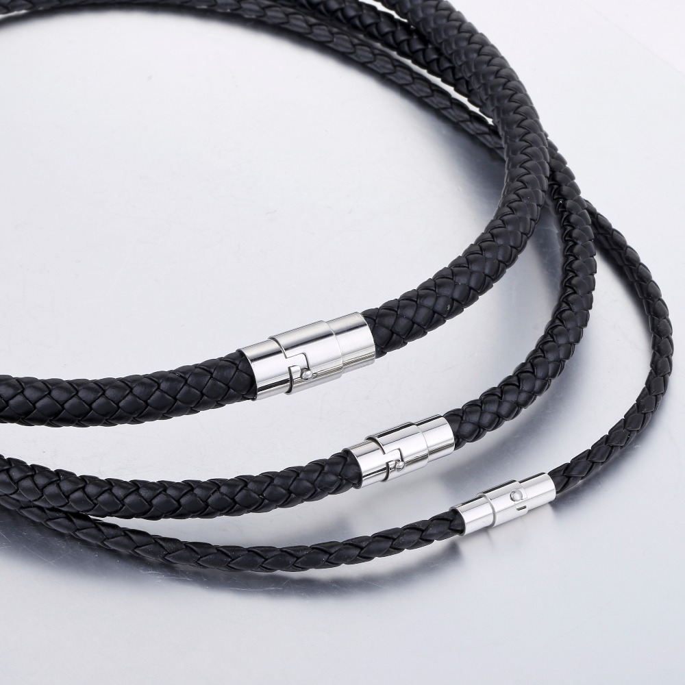 Mens Leather Necklace Choker Black Brown Rope Choker Necklaces for Men Women Davieslee Wholesale Jewelry 4/6/8mm DLUNM09 Islamabad