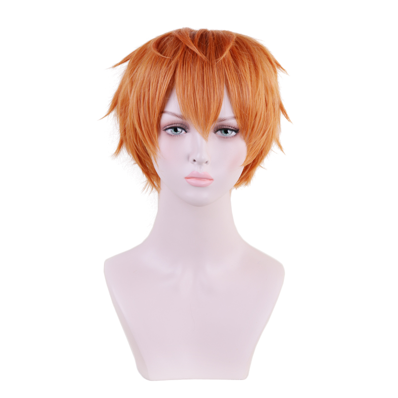 Division Rap Battle Hypnosis MIC Busujima Meison Riou Orange Short Wig Cosplay Costume Men Synthetic Hair Halloween Party Wigs