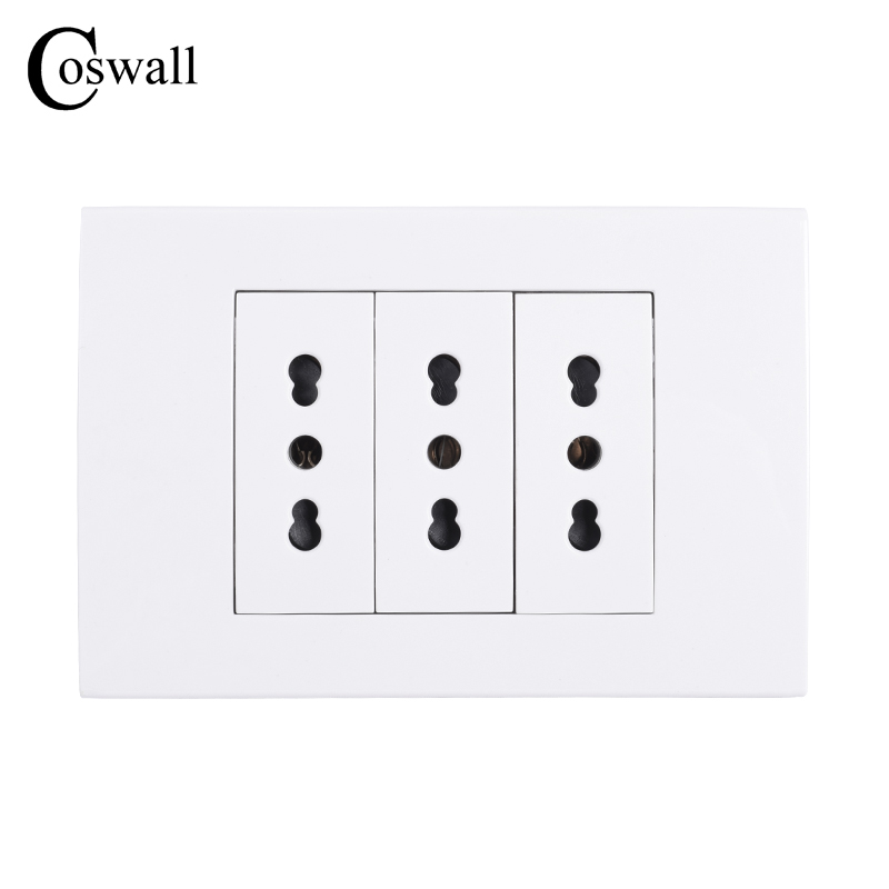 Coswall Wall Power Socket Plug 3 Way Italian / Chile Electrical Outlet 118mm*80mm AC 100~250V