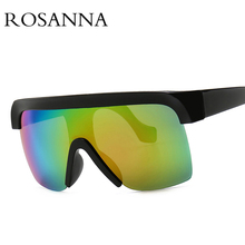 ROSANNA Big Frame Rimless Sunglasses Women Brand Designer Oversized Shield Sun Glasses One Piece Visor UV400