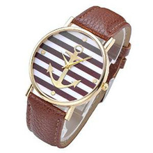 Paradise 2016 1PC Hot Women's Striped Anchor Style Leather Watch – Coffee Free Shipping June07