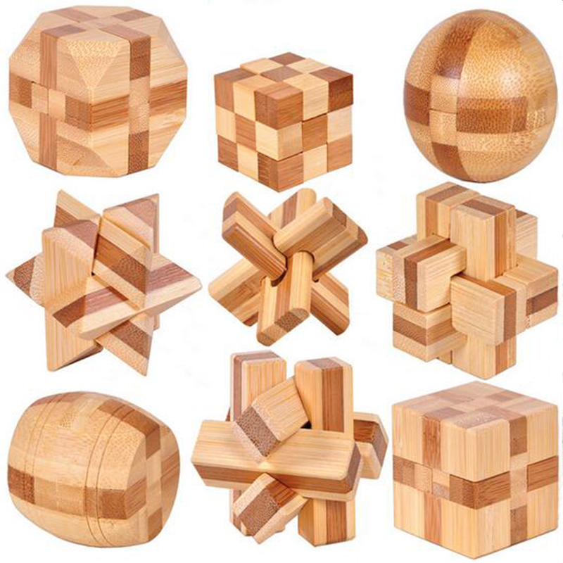 2016 New Excellent Design IQ Brain Teaser 3D Wooden Interlocking Burr Puzzles Game Toy For Kids PQQ02