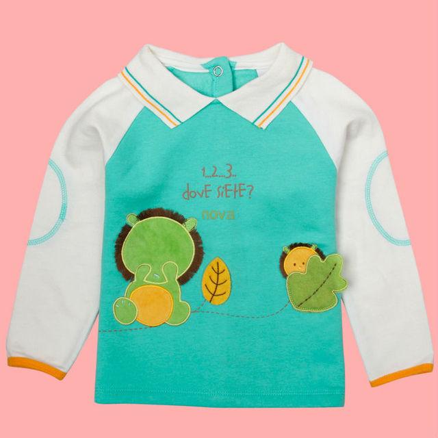 Muchachos de la Ropa de Los Bebés de la camiseta del Muchacho de la Manga Larga t Shirt Otoño Niños Ropa de algodón Azul 2014 Marca Nova Ropa de Niños A281