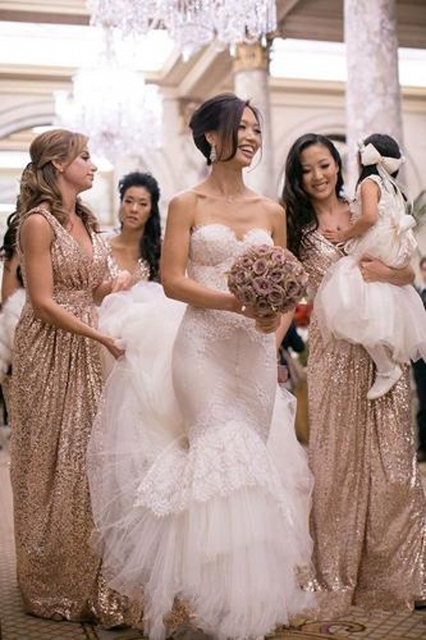 Bling Rose Gold 2016 Cheap Bridesmaid Dresses for Beach Wedding Party V-Neck  Sequins Long Maid of Honor Dress Champagne Gowns e064447e767c