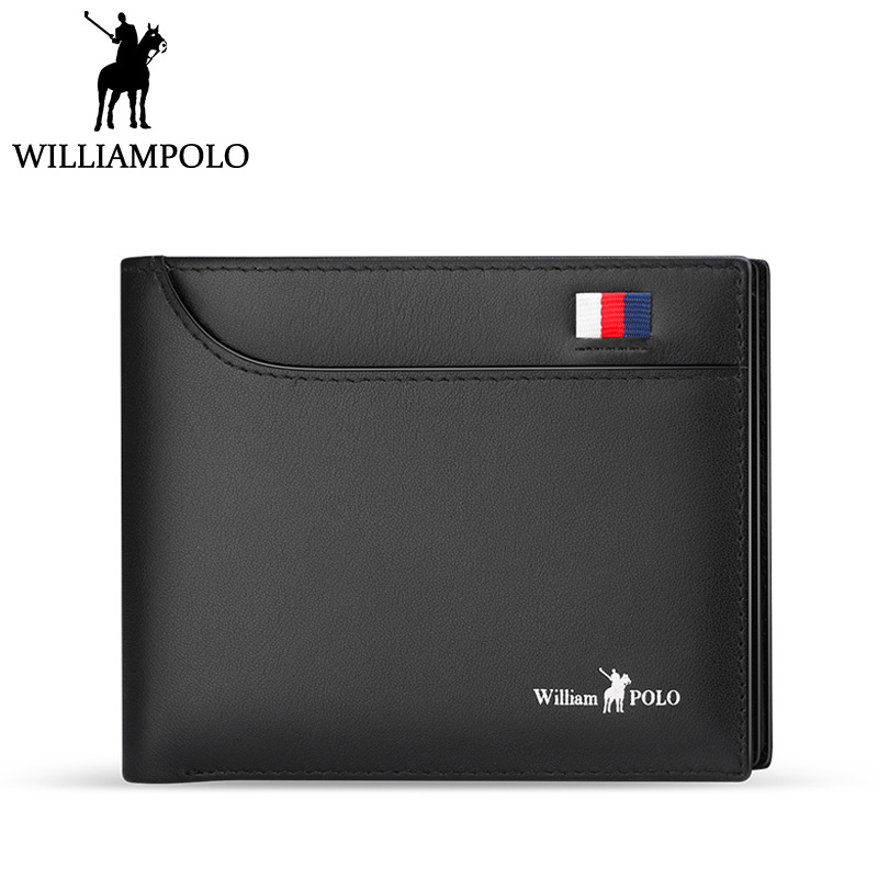 WilliamPolo 2018 Men's Slim Wallet Genuine Leather Mini Purse Casual Design Bifold Wallet Fashion Brand Short Small Pouch Gift