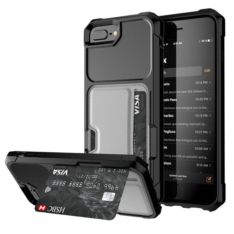 Coque en cuir avec porte-cartes pour iPhone, étui de luxe, armure, étui pour iPhone Xr, Xs Max, X, 6s, 6, 7, 8 Plus