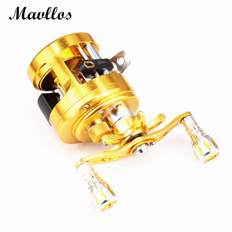 Mavllos Gold V Shape Deep Profile Round Baitcasting Reel Right Hand Metal Body 6.4:1 Ratio Saltwater Trolling Drum Fishing Reel metal round jigging reel 6 1 bearing saltwater trolling drum reels right hand fishing sea coil baitcasting reel