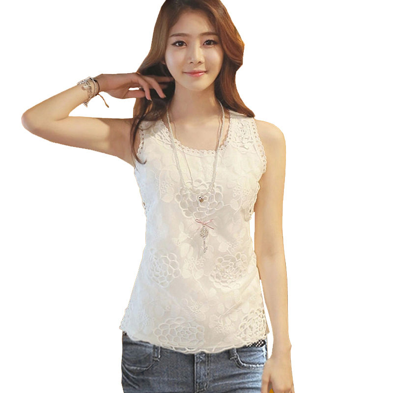 Tank top Women shirt blouse Fitness Elegant Flower Embroidery Lace Vest New Fashion Summer Tube Top Sleeveless Shirt Clothing