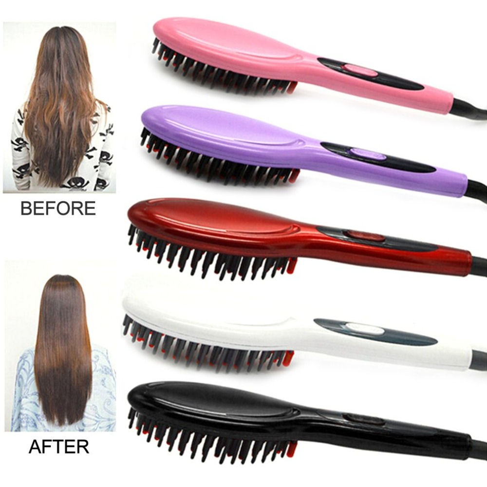 En céramique Électrique Brosse Cheveux Styling Outil Cheveux Défrisage Brosse Soins Des Cheveux UE US UK UA