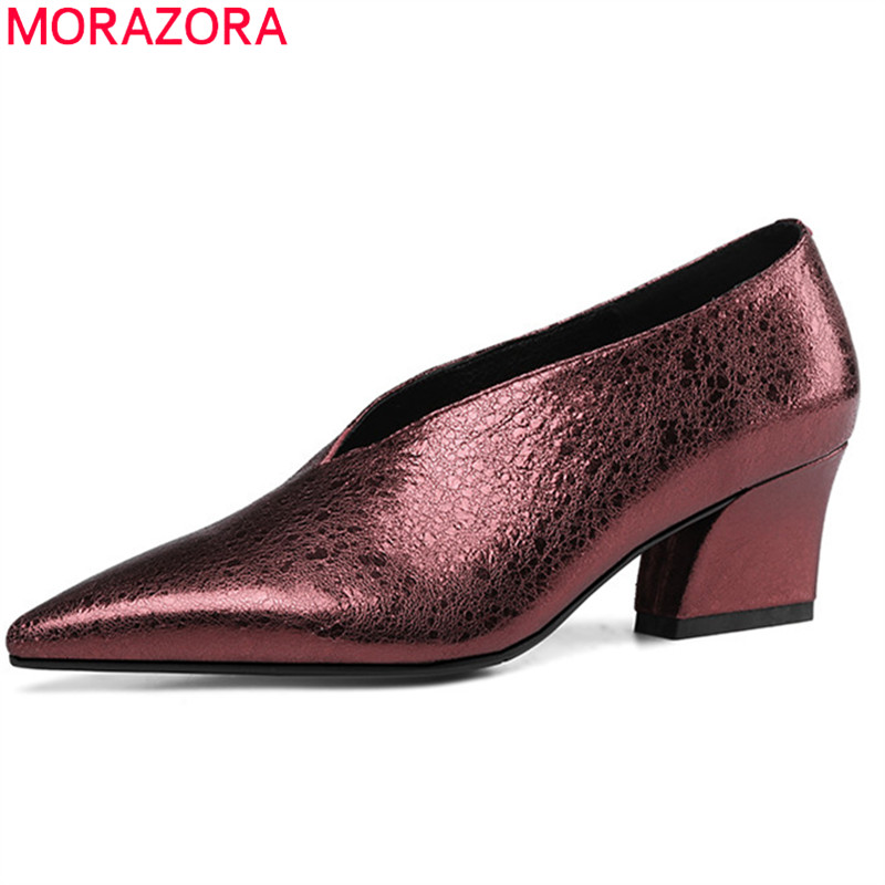 classic style superior quality fresh styles US $44.2 48% OFF|MORAZORA 2019 newest genuine leather women pumps pointed  toe office shoes ladies spring summer shoes woman dress shoes-in Women's ...