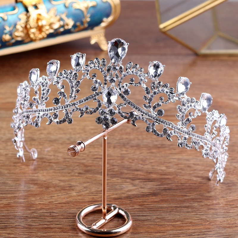 Rhinestone Crown Headbands Hair-Accessories Tiaras-Queen Crystal Wedding Bride Pageant