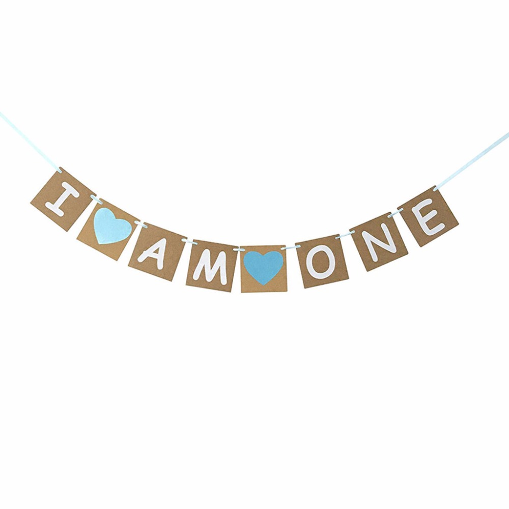 Vintage Rustic I Am One Bunting Banner Garland Blue Baby Boy 1st Birthday Party Decoration Centerpieces Baby Shower Favor Gifts