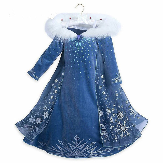 2018 new Elsa Dress girls Party Vestidos Cosplay Girl Clothing Anna Snow Queen Print Birthday Princess Dress Kids Costume 1