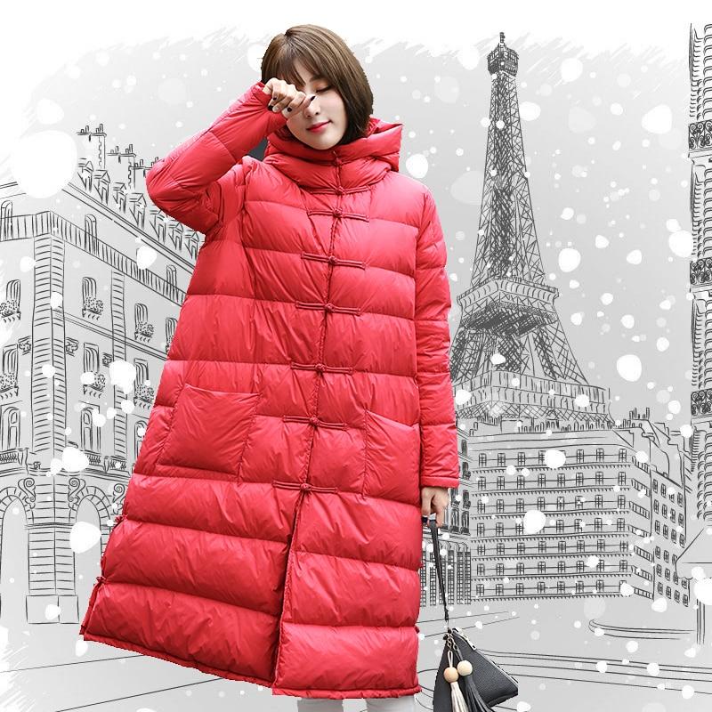 À Veste Manteau Femmes Mode Survêtement Et big Duvet De rose Long D'hiver pink Manteaux Red Genou Black Canard Parka Femme Lxt451 Red Plus Taille Capuchon La Femelle Épais Blanc aO6axw