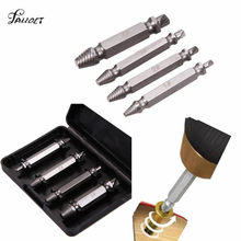 4Pcs/set Double Side Damaged Screw Extractor Step Drill Bit Guide Set Broken Damaged Remover Tool Screw Extractor Metal Drills(China)