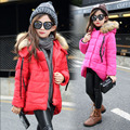 Free shipping Children's clothing female child wadded jacket winter medium-long  outerwear child thickening fur collar
