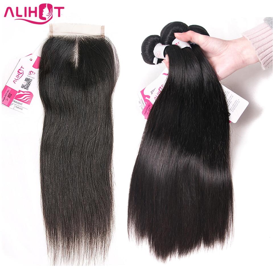 ALI HOT Brasilian Straight Hair 3stk Med Afslutning Naturfarve Remy - Menneskehår (sort)