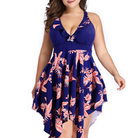 Large size swimsuit split dress printed Plus Size One Piece Swimsuit With Shorts Flower Print One Piece Swimdress