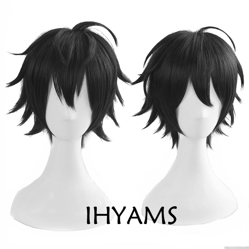 Top Quality Anime Division Rap Battle Hypnosis MIC Yamada Saburo Short Black Fluffy Synthetic Hair Cosplay Wig + Wig Cap