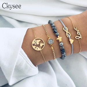 Ckysee 5Pcs/lot Bohemian Map Heart Turtle Charm Bracelets Set Bangles For Women Fashion Crystal Beads Bracelet Party Jewelry