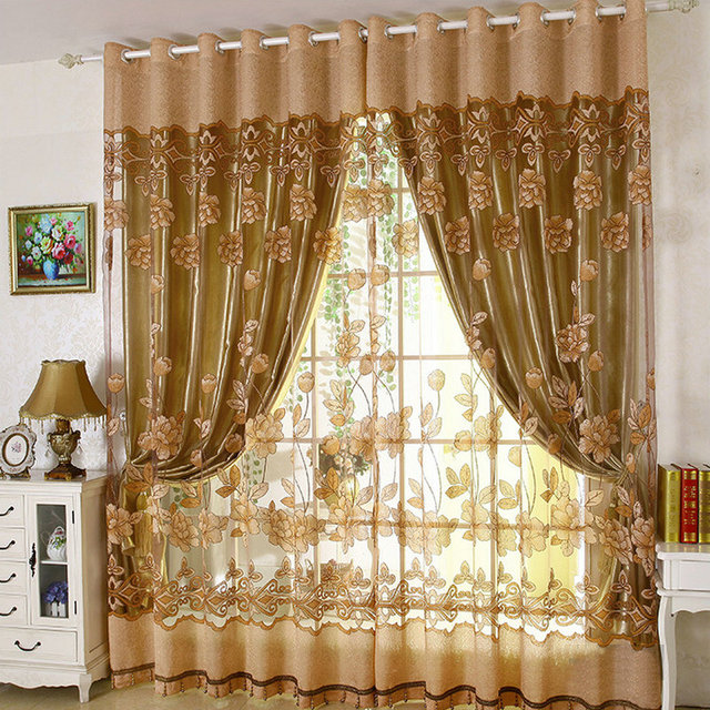 6903d7520b8f Luxury Embroidered Tulle Blackout curtains for Living Room Bedroom Floral  Printed Modern Style Drapes Tulle with Beads Treatment