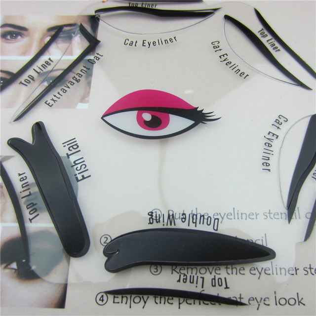 6 in 1 Stencils Eyeliner Template Smoky Makeup Guide Cat Eye Liner Quick Tool Hot Sale New 4