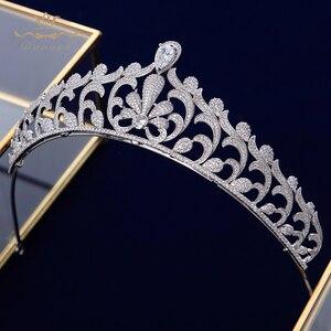 Image 5 - Bavoen elegante claro repleto de circonita novia coronas Tiaras cristal diademas de boda novia pelo accesorios de joyería