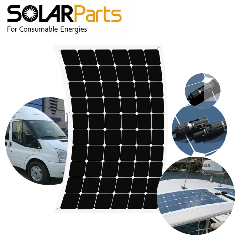 BOGUANG 180W 17V semi-flexible efficient solar panel with High efficiency solar cell solar module for 12V battery charging sunpower solar cell 21 8 24% high efficiency solar panel cells 150pcs dog bone connector 150pcs for diy flexible solar panel
