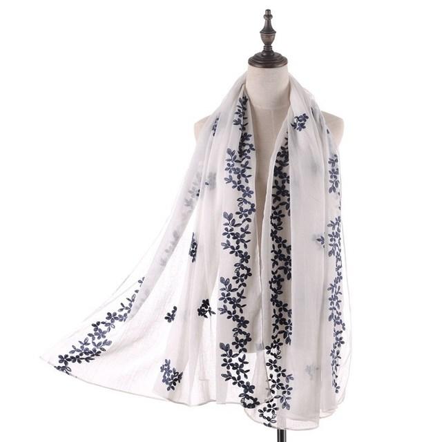 180*90 cm Nova Chegada de Moda Das Mulheres Lenços De Algodão Mistura Fulares Mujer Lady Macio Longo de Grandes Dimensões Da Cabeça do Bordado Sacrf Hijabs