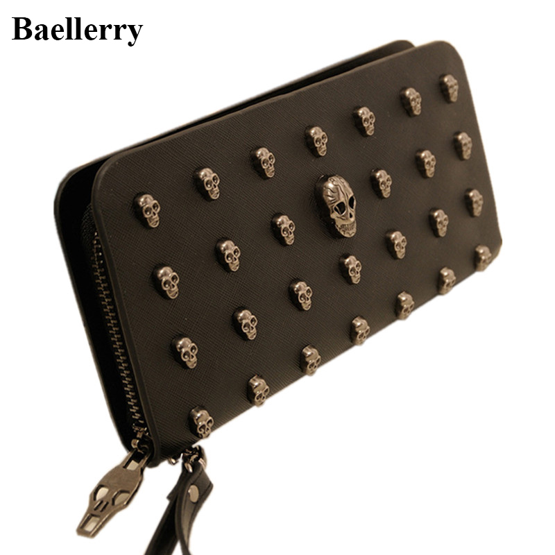 New Designer Phone Wallets Women Leather Wallets Long Brand Metal Skull Coin Purses Female Clutch Bags Money Credit Card Holders baellerry brand pu leather wallets men purses slim new designer solid vintage small wallets male money bags credit card holders