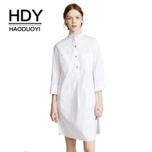 HDY Haoduoyi Women Office Lady Solid White Loose Shirt Dress Single Breasted Three Quarter Sleeve Side Split