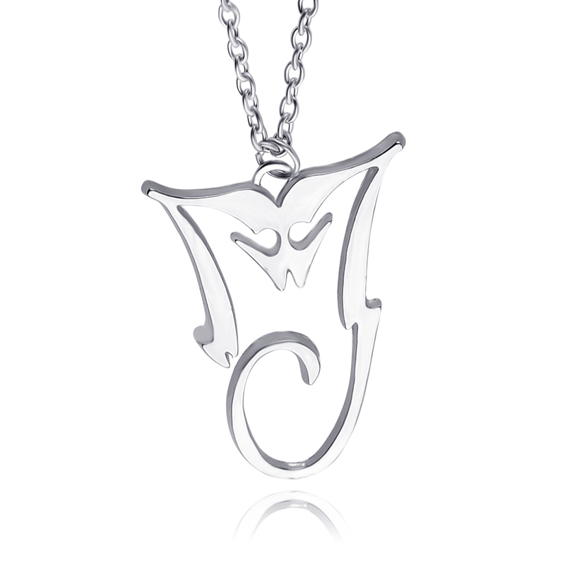 Michael Jackson Necklace Silver Plated Pendant MJ King Of Pop Thriller  Moonwalker MJ Bad logo Wholesale fd8d49d21