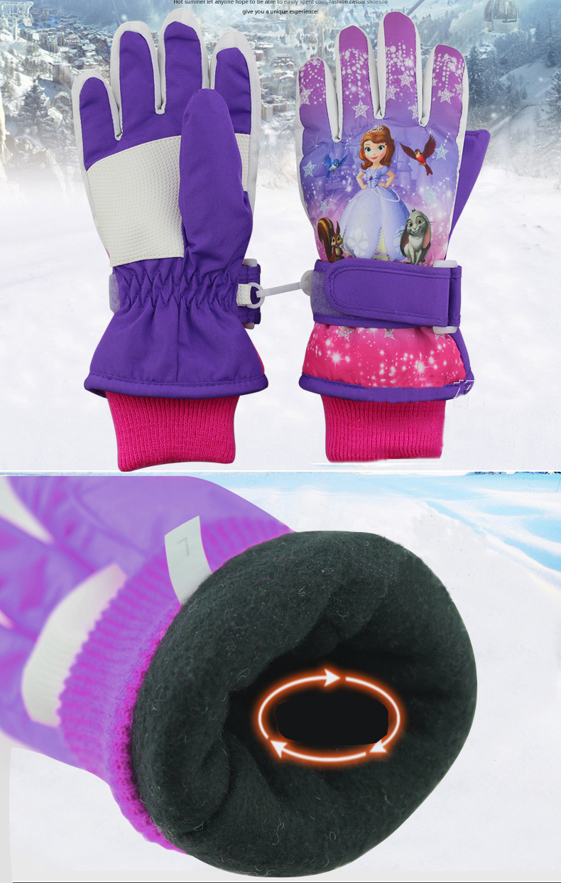 GLV909 Children s winter ski font b gloves b font warm waterproof students font b gloves