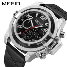 Creative MEGIR Men's Fashion Sport Watches Men Chronograph Quartz Clock Man Leather Military Waterproof Watch Relogio Masculino все цены