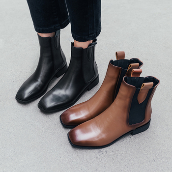 INS women Ankle boots Genuine Leather 22-25 cm feet length boots for women Square toe Chelsea boots female shoes fashion
