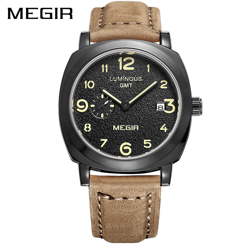 MEGIR Brand Business Watch Fashion Luxury Leather Men Quartz Watches Military Wristwatch Clock Erkek Kol Saati Relogios 1046 brown leather strap men quartz watch mens watches top brand luxury erkek kol saati horloge montre homme clock megir hodinky b190